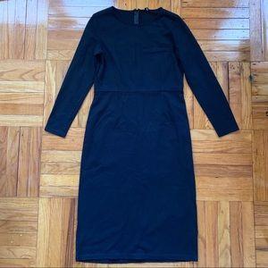 J. Crew Black L/S Midi Dress 6